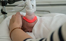 Preemie in lung function measurement, photo